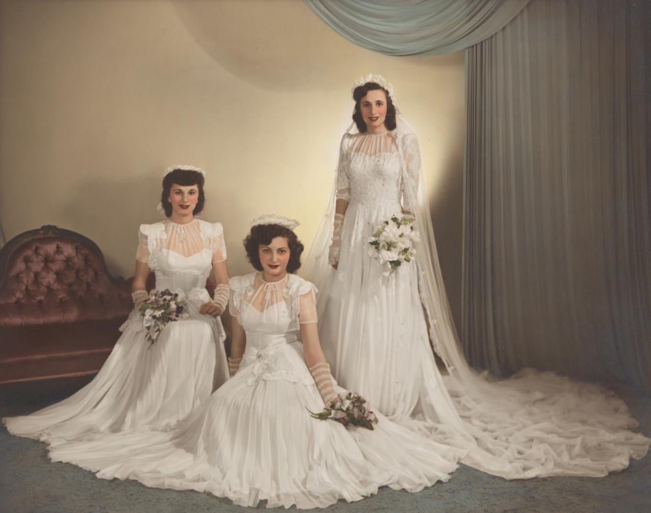 Свадебные платья сороковых годов